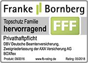 Testsieger, Franke&Bornberg, DBV, Privathaftpflichtversicherung BOXflex | Snoopr® - Die intelligente Suchmaschine für Versicherungen